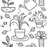 Linha sem emenda teste padrão do houseplant da arte ilustração stock