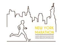 Linha silhuetas do corredor masculino Maratona running, projeto do cartaz ilustração royalty free