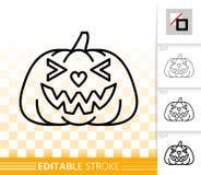 Linha simples ícone da lanterna de Jack O da abóbora de Dia das Bruxas ilustração stock