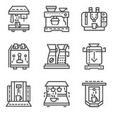Linha simples ícones para máquinas do café Imagens de Stock Royalty Free