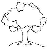 Linha simples arte da árvore Imagens de Stock