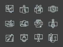 Linha simples branca ícones do ano novo feliz ajustados Fotografia de Stock