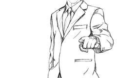 Linha simples do esboço do desenho de homem de negócio com mão do aumento imagem de stock