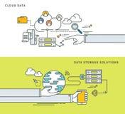 Linha simples projeto liso de soluções dos dados da nuvem & do armazenamento de dados, ilustração moderna do vetor Imagens de Stock Royalty Free