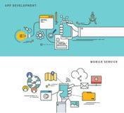 Linha simples projeto liso do desenvolvimento do app & do serviço móvel, ilustração moderna do vetor Fotos de Stock
