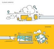 Linha simples projeto liso do serviço & da partilha da nuvem, ilustração moderna do vetor Foto de Stock Royalty Free