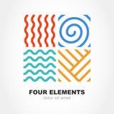 Linha simples símbolo de quatro elementos Molde do logotipo do vetor Sumário Foto de Stock Royalty Free