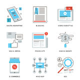 Linha social ícones do mercado dos meios ajustados ilustração stock