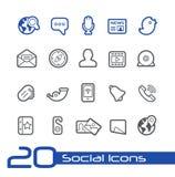 Linha social série de //dos ícones Imagem de Stock Royalty Free
