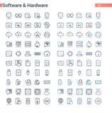 Linha software do vetor e grupo limpos e corajosos simples do hardware ilustração do vetor