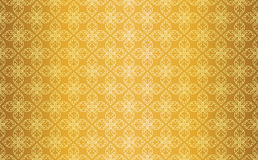 Linha tailandesa Art Seamless Pattern Background do vintage do ouro Foto de Stock Royalty Free