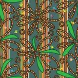 Linha teste padrão sem emenda da flor do pássaro da tração ilustração stock