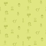 Linha teste padrão sem emenda da horticultura do vetor dos ícones Fotografia de Stock Royalty Free