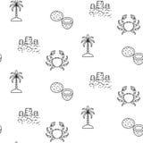Linha teste padrão sem emenda das férias de verão do vetor do ícone Imagem de Stock