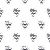 Linha teste padrão sem emenda das uvas do vetor do ícone Foto de Stock