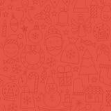 Linha teste padrão sem emenda de Art Happy New Year Red Foto de Stock Royalty Free