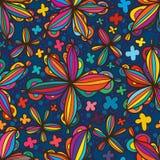 Linha teste padrão sem emenda do estilo da flor da estrela Fotografia de Stock Royalty Free
