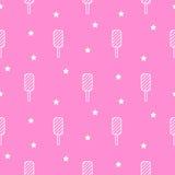 Linha teste padrão sem emenda do gelado do picolé do rosa do ícone Fotografia de Stock Royalty Free