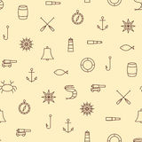 Linha teste padrão sem emenda do navio & de mar dos ícones no fundo bege Imagens de Stock Royalty Free