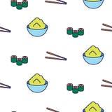 Linha teste padrão sem emenda do sushi do vetor do ícone Fotos de Stock