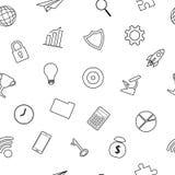 Linha teste padrão sem emenda dos ícones do negócio Fotografia de Stock