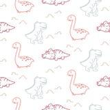 Linha teste padrão sem emenda dos dinossauros do vetor do bebê bonito do estilo ilustração royalty free