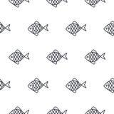 Linha teste padrão sem emenda dos peixes do vetor do ícone Fotos de Stock Royalty Free