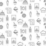 Linha teste padrão sem emenda dos restaurantes do ícone Imagem de Stock
