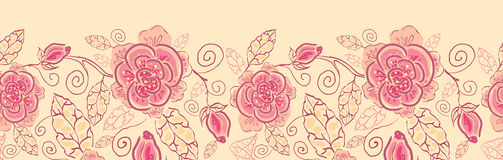 Linha teste padrão sem emenda horizontal das rosas da arte Imagem de Stock Royalty Free