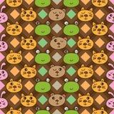 Linha teste padrão sem emenda vertical do diamante do urso do coelho do forg do gato Fotografia de Stock Royalty Free