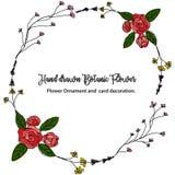 Linha tirada mão grinalda floral com cor Projeto do vintage do vetor Imagens de Stock Royalty Free
