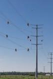 Linha trabalhadores do fio alto Foto de Stock Royalty Free