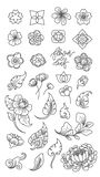 Linha tradicional ícones da flor e da folha isolados Ásia japonês thai chinês ilustração royalty free