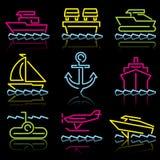 Linha transporte da água dos ícones Imagens de Stock Royalty Free