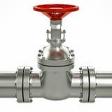 linha válvulas da tubulação de gás do metal 3d Imagens de Stock