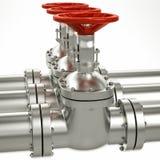 linha válvulas da tubulação de gás do metal 3d Fotografia de Stock Royalty Free