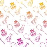 Linha velas de Degarded do bolo com fundo dos chapéus e dos balões ilustração do vetor