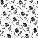 Linha velas do bolo com fundo dos chapéus e dos balões ilustração stock