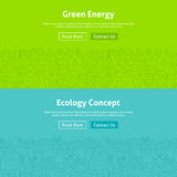 Linha verde Art Web Banners Set da energia da ecologia Imagens de Stock Royalty Free