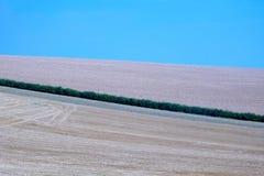 Linha verde da conversão que corre através dos campos arado Fotografia de Stock