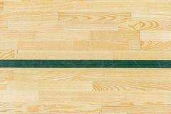 A linha verde no assoalho do ginásio para atribui a corte dos esportes Badminton, Futsal, voleibol e campo de básquete imagens de stock