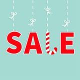 Linha vermelha de suspensão do traço do texto com curva Bandeira do bastão de doces da venda, anunciando o cartaz Foto de Stock
