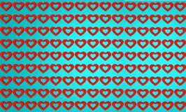 Linha vermelha e azul fundo da forma do coração do teste padrão imagens de stock