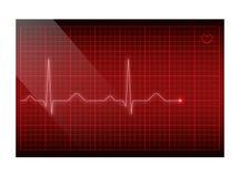 Linha vermelha frequência cardíaca na tela Fundo do eletrocardiograma do vetor ilustração stock