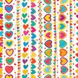 Linha vertical teste padrão sem emenda da tração da mão do amor Fotografia de Stock