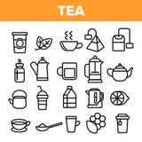 Linha vetor do chá do grupo do ícone Projeto da etiqueta do restaurante Ícones da bebida do chá Pictograma tradicional da caneca  ilustração do vetor