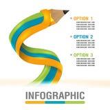 Linha vetor gráfico do lápis da cor da informação Foto de Stock Royalty Free