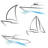 A linha Yachts símbolos ilustração do vetor