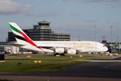 Linhas aéreas Airbus A380 de Mirates fotografia de stock royalty free