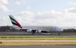 Linhas aéreas Airbus A380 dos emirados fotografia de stock